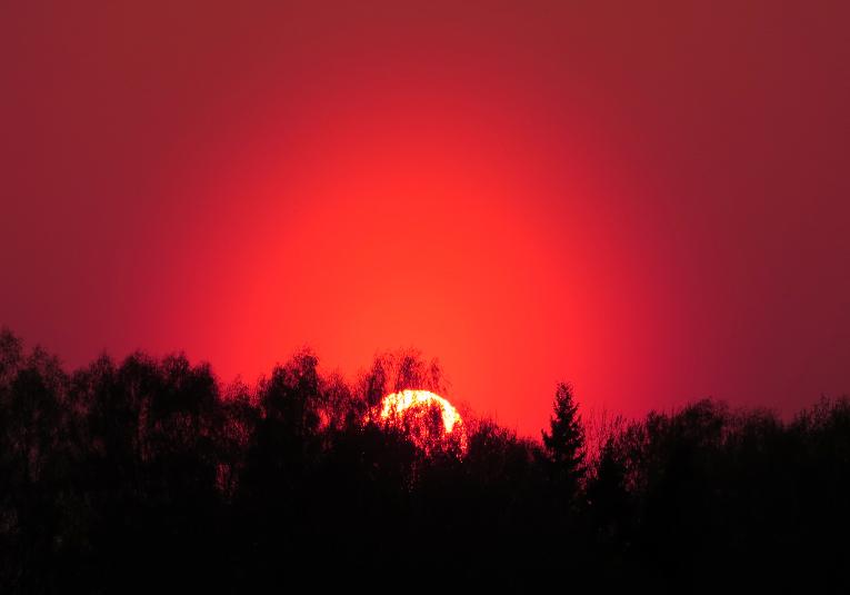 Savādo saules nokrāsu veicinājuši ugunsgrēku dūmi no Baltkrievijas