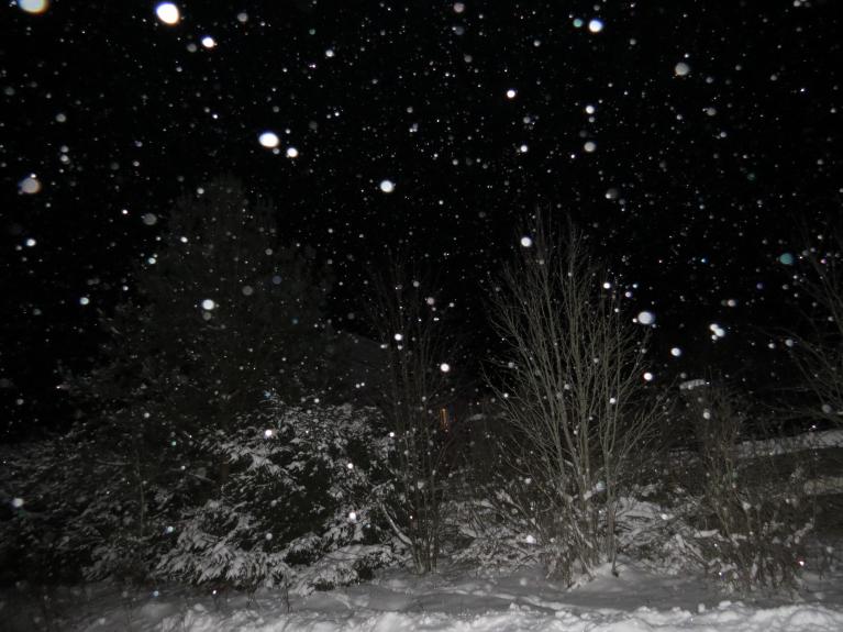Spīd zvaigznes,  mākoņu nav, bet gaisā ir mitrums, kas krīt lejup mazu sniega kristāliņu veidā, kas zibspuldzes gaismā izskatās šādi. Tumsā paceļas gaismas pīlāri virs lielākiem gaismas objektiem, bet ar savu foto tehniku kvalitatīvas bildes neizdodas.