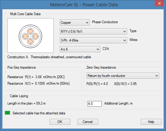 MeteorCalc SL - Power Cable Data