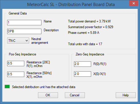 MeteorCalc SL - Distribution Panel Board Data
