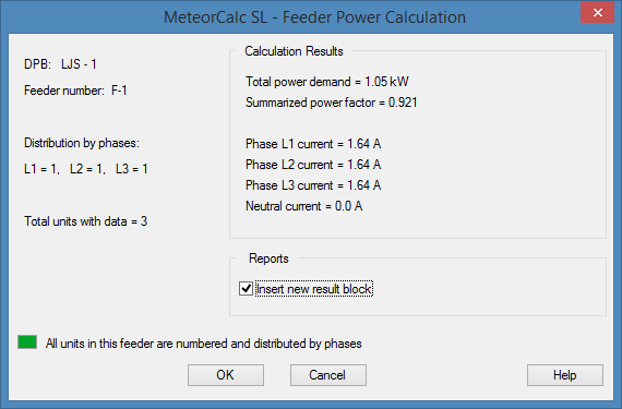 MeteorCalc SL - Feeder Power Calculation