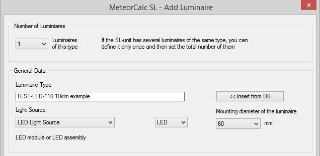 MeteorCalc SL - Add Luminaire