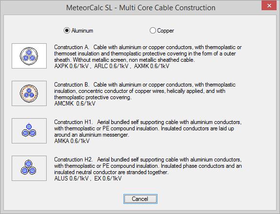 MeteorCalc SL - Multi Core Cable Construction