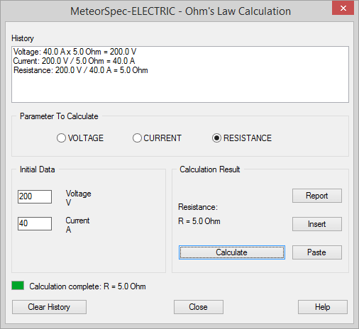MeteorSpec LT - MeteorSpec-ELECTRIC - Ohm's Law calculator
