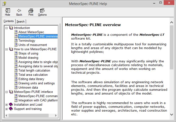MeteorSpec LT - MeteorSpec-PLINE - Help System