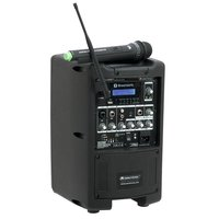 """Omnitronic WAMS-08BT 8"""" Mobil Ses Sistemi, Akülü, Telsiz Mikrofonlu"""