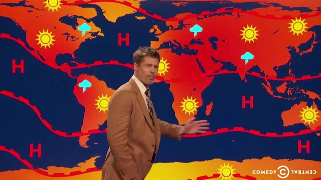 Brad Pitt Is Now a Weatherman ... Well, Sort Of