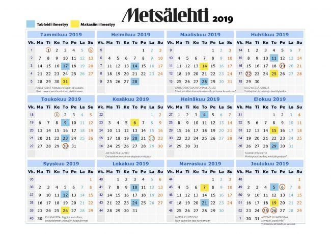 Ilmestymiskalenteri 2019