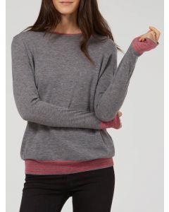 WYSE Emma Stripe Cuff Merino Wool - Grey / Pink