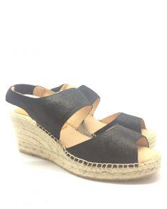 Kanna K1728 Black Wedge Sandal