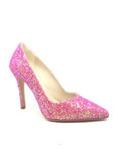 Lodi Vela Sunny Pink Glitter Heel