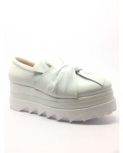 Marco Moreo Nappa White Leather Bow Platform