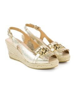 Kanna k1813 Gold Sling Back Wedge