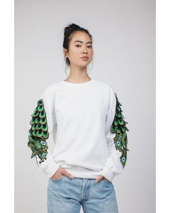 Ragyard Peacock Sleeve White Sweater