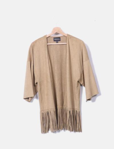 Kimono antelina con flecos camel