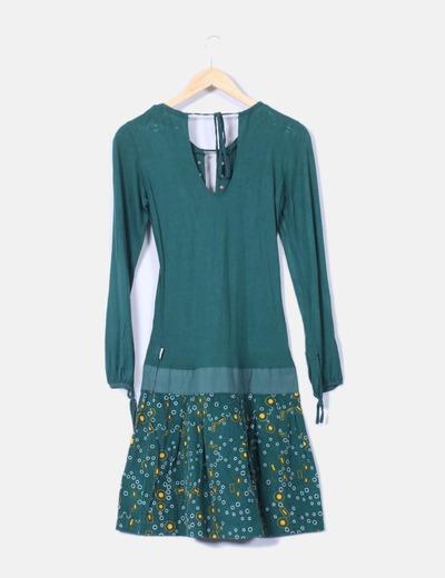 Vestido verde combinado pana