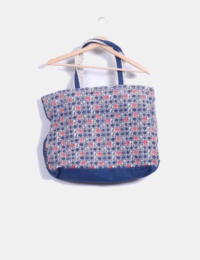 Bolso shopper azul floreado