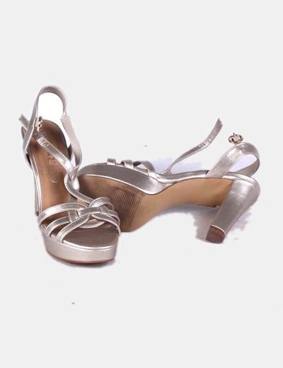 Sandalias de tacon dorado
