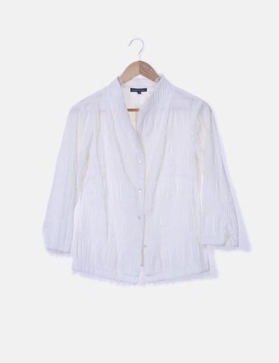 Camisa cuello mao texturizado blanco