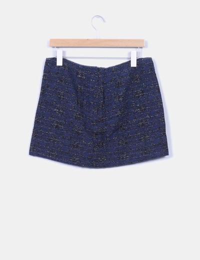 Mini falda tweed azul marino