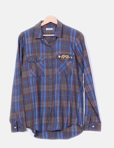Camisa cuadros apliques pedrería  Pull&Bear