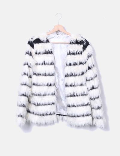 Manteau blanc à fourrure rayé NoName