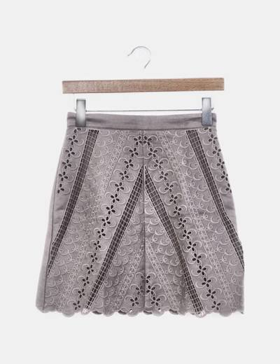 Falda crochet antelina gris