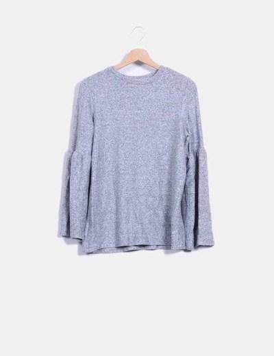 Jersey soft hand gris mangas campana Zara