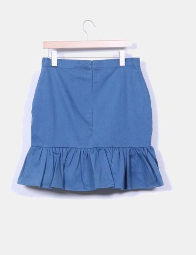 Falda midi azul petroleo
