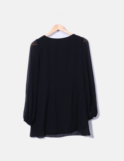 Vestido de gasa negro con forro