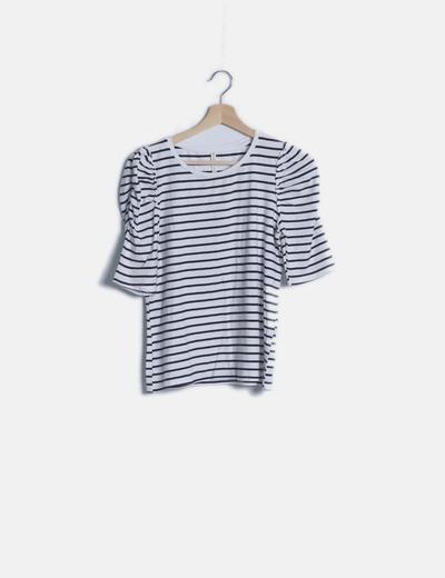 Camiseta navy mangas drapeadas