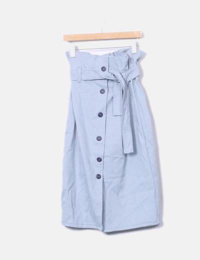 Falda azul abotonada