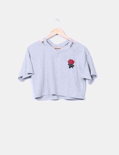 Crop top gris rosa bordada NoName