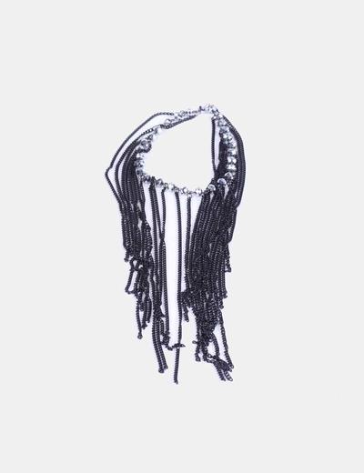 Collar negro de flecos con strass NoName