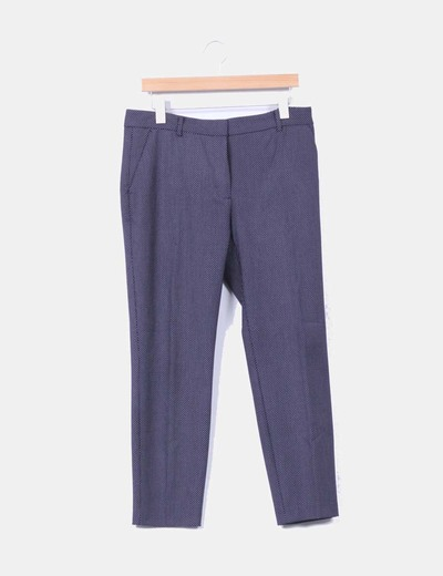 Pantalón recto azul marino con topos blancos Zara