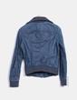 Veste bleu en cuir synthétique motard Pimkie