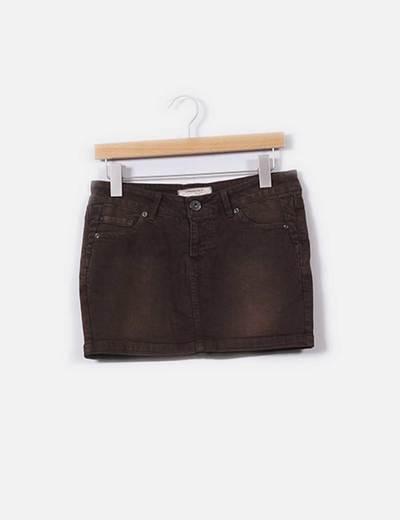 Mini falda vaquera marrón Springfield