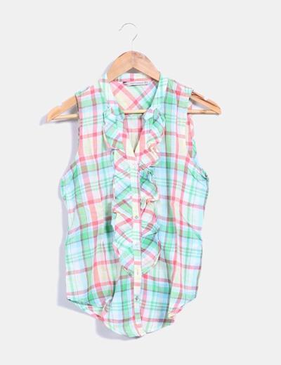 Camisa cuadros multicolor Zara