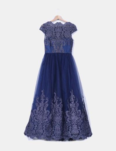 Vestido tul azul marino glitter