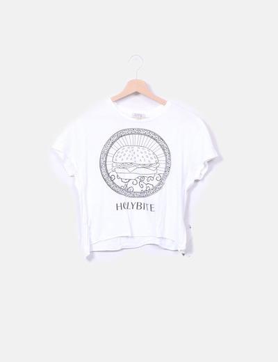 Camiseta blanca dibujo hamburguesa