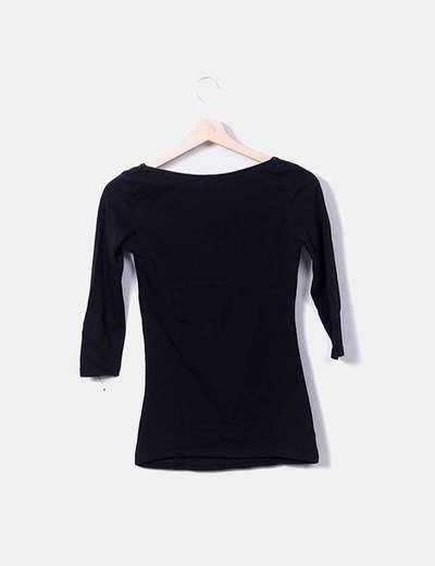 descuento especial de estilo clásico de 2019 encanto de costo Camiseta negra escote corazón