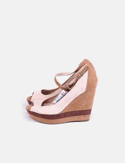 Zapato cuña beige Bershka