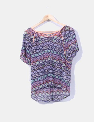 Blusa estampada multicolor Stradivarius