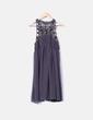 Vestido midi gris combinado con pedrería Zara