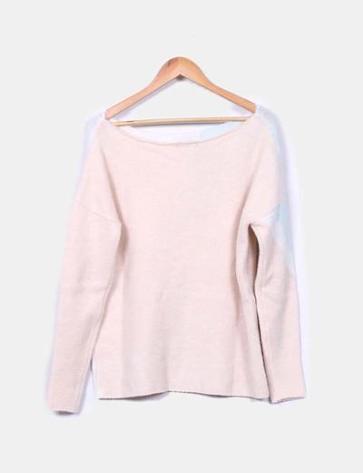 Jersey de punto rosa blanco y azul