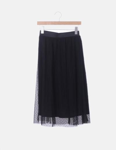 a0b7ff450 Falda midi negra tul topos