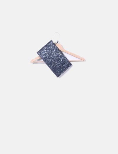 Bolso de mano azul glitter fiesta