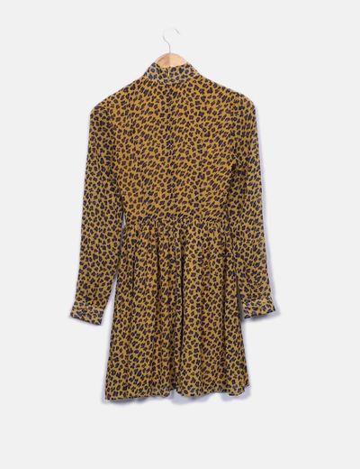 Vestido midi amarillo leopardo