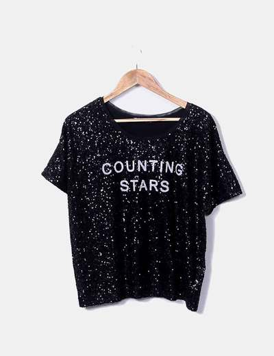 T-shirt combinada com pailettes Bershka