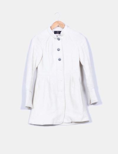 Manteau blanc sans col Bershka